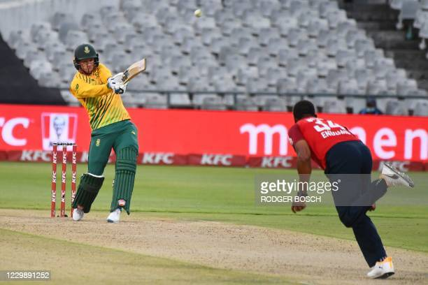 South Africa's Rassie van der Dussen plays a shot delivered by England's Chris Jordan during the third T20 international cricket match between South...