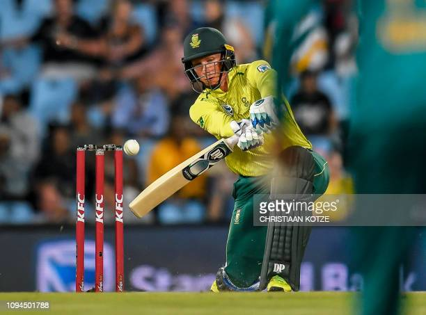 South Africa's Rassie van der Dussen plays a shot during the third and final Twenty20 international cricket match between South Africa and Pakistan...