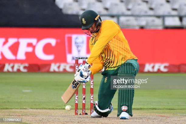 South Africa's Rassie van der Dussen plays a shot during the third T20 international cricket match between South Africa and England at Newlands...