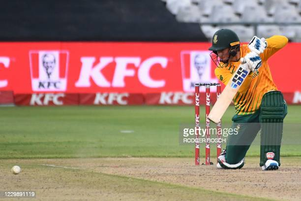 South Africa's Rassie van der Dussen watches the ball after playing a shot during the third T20 international cricket match between South Africa and...