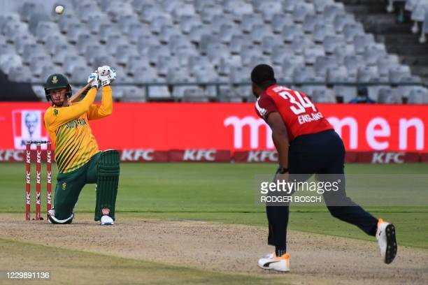 South Africa's Rassie van der Dussen watches the ball after playing a shot delivered by England's Chris Jordan during the third T20 international...