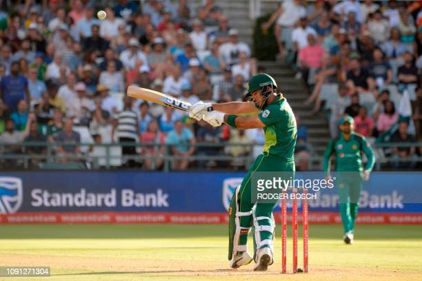 South Africa's Reza Hendricks plays the ball plays the ball during the 5th One Day International cricket match between South Africa and Pakistan at...