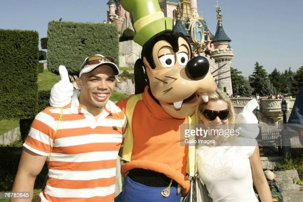 South Africa's Rugby team member Bryan Habana with his friend Janine Viljoen during a visit to Disneyland on September 16 2007 in Paris France