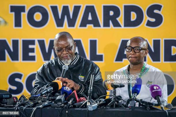 South Africa's ruling African National Congress Secretary General, Gwede Mantashe , gives a speech next to ANC spokesperson Zizi Kodwa, during the...