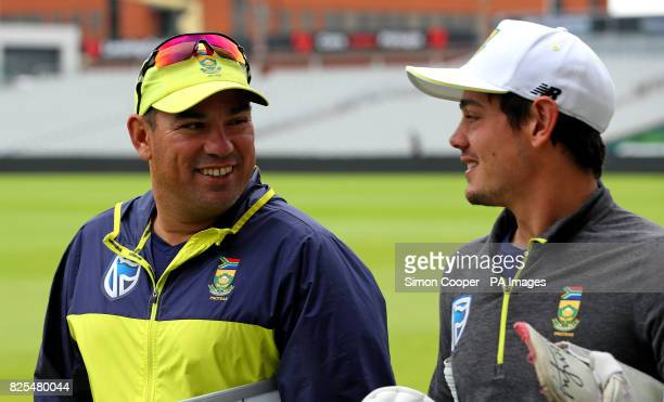 South Africa's Russell Domingo and Quinton de Kock during the nets session at Emirates Old Trafford Manchester