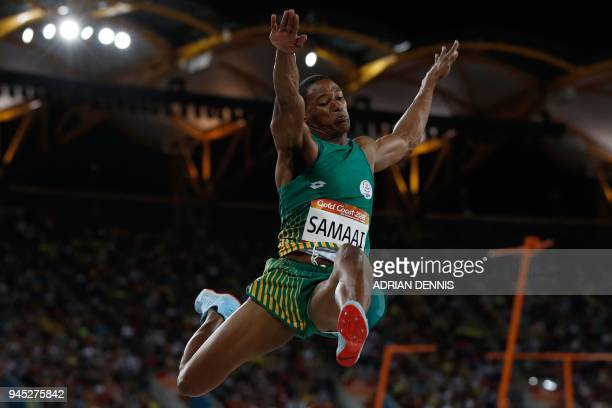 South Africa's Ruswahl Samaai competes in the athletics men's long jump final during the 2018 Gold Coast Commonwealth Games at the Carrara Stadium on...