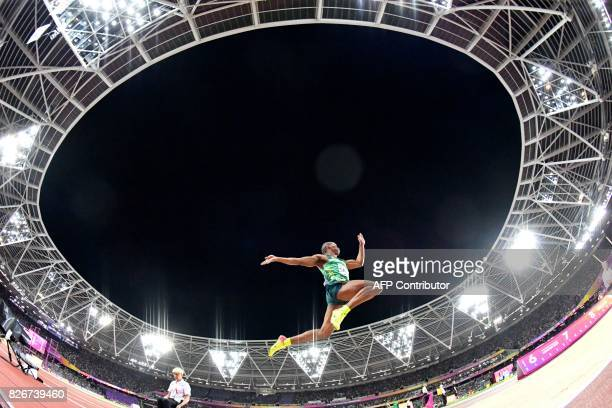 South Africa's Ruswahl Samaai competes in the final of the men's long jump athletics event at the 2017 IAAF World Championships at the London Stadium...