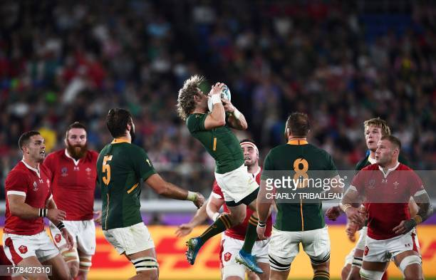 South Africa's scrumhalf Faf de Klerk catches the ball during the Japan 2019 Rugby World Cup semifinal match between Wales and South Africa at the...