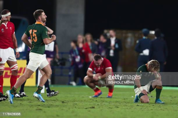 South Africa's scrumhalf Faf de Klerk celebrates winning the Japan 2019 Rugby World Cup semifinal match between Wales and South Africa at the...