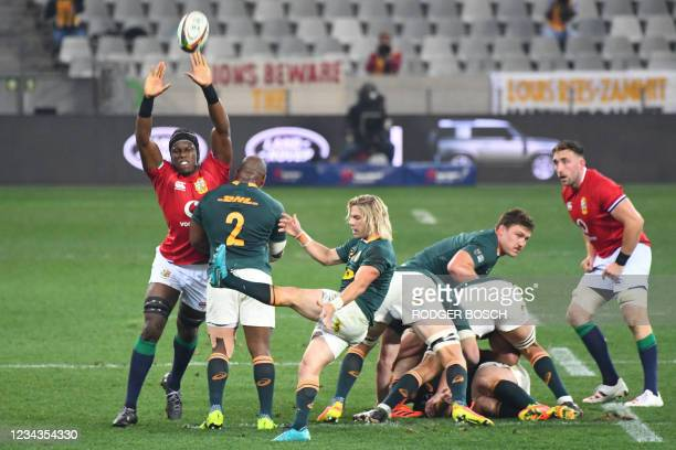 South Africa's scrum-half Faf de Klerk kicks the ball during the second rugby union Test match between South Africa and the British and Irish Lions...
