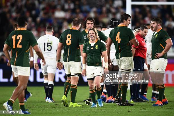 South Africa's scrum-half Faf de Klerk smiles during the Japan 2019 Rugby World Cup final match between England and South Africa at the International...