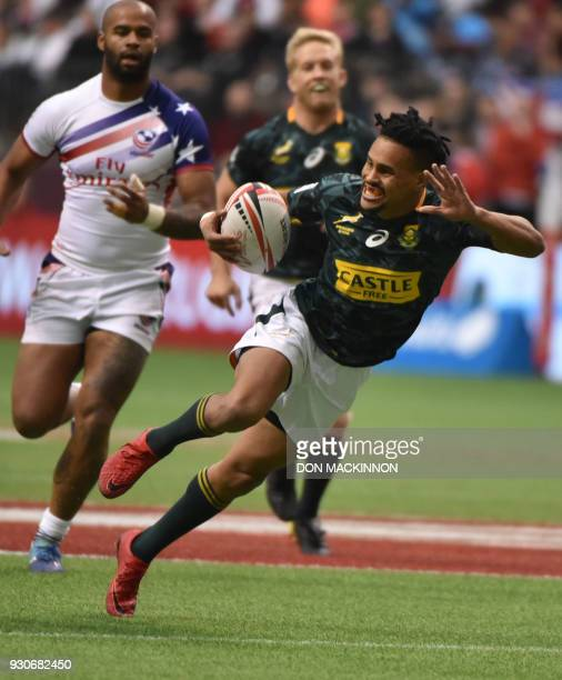 South Africa's Selvyn Davids runs with the ball during the HSBC Canada Men's Sevens in BC Place Stadium in Vancouver BCCanada March 11 2018 Vancouver...
