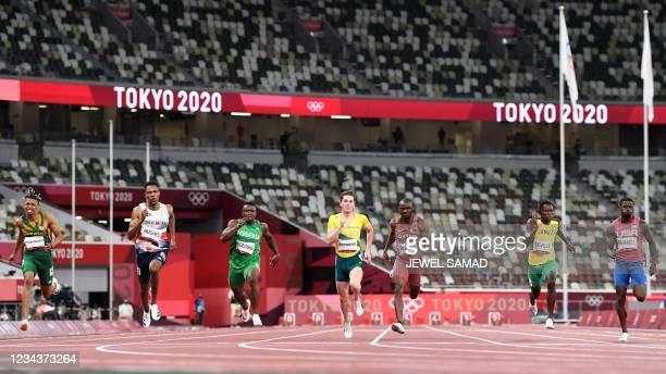 South Africa's Shaun Maswanganyi, Britain's Zharnel Hughes, Nigeria's Enoch Adegoke, Australia's Rohan Browning, Qatar's Femi Ogunode, Jamaica's...