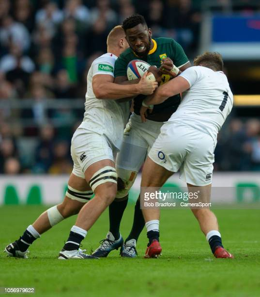 South Africa's Siya Kolisi is tackled by England's Alec Hepburn during the Quilter International match between England and South Africa on November 3...