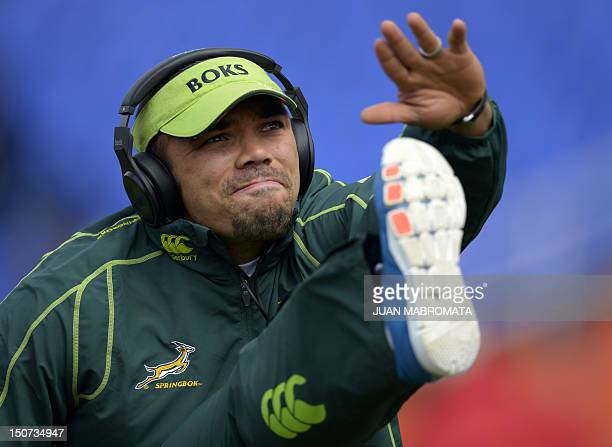 South Africa's Springboks wing Bryan Habana warms up before the start of the Rugby Championship second roun match against Argentina's Los Pumas at...
