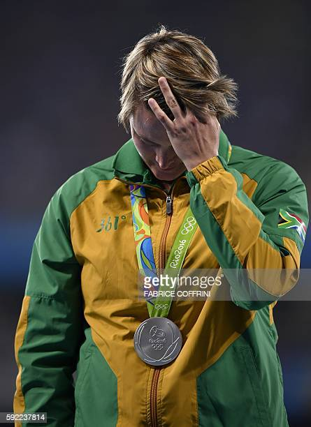 South Africa's Sunette Viljoen poses during the podium ceremony for the Women's Javelin Throw during the athletics event at the Rio 2016 Olympic...