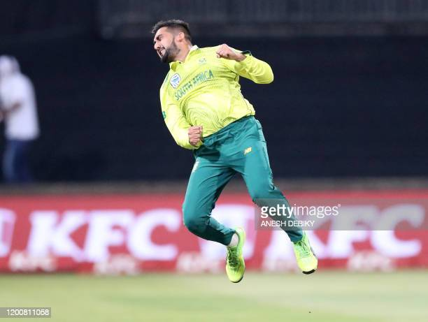 South Africa's Tabraiz Shamsi celebrates the wicket of England's Jason Roy during the 2nd T20 International Cricket match between South Africa and...