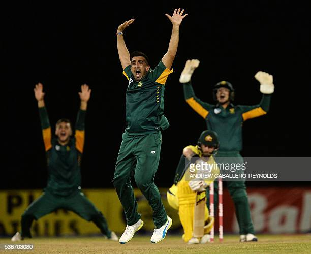 South Africa's Tabraiz Shamsi unsuccessfully appeals for a leg before wicket during a Oneday International cricket match between South Africa and...