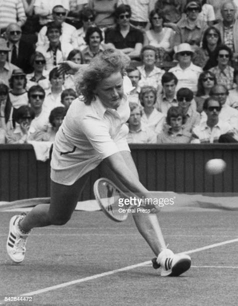 South Africa's Tanya Harford during a match against Martina Navratilova on the Centre Court at Wimbledon, London, 26th June 1979.