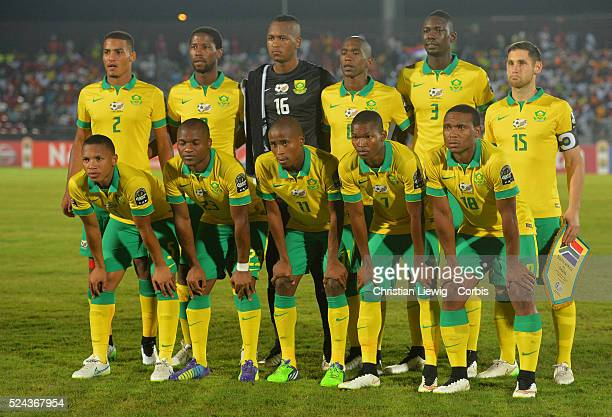 South Africas Team during the 2015 Orange Africa Cup of Nations Final soccer matchSouth AfricaVs Ghana at Mongomo stadium in Bata Equatorial Guinea...