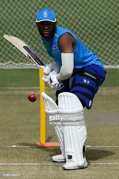 South Africa's Temba Bavuma plays a shot during a practice session at the National Stadium in Karachi on January 23 ahead of their first cricket test...
