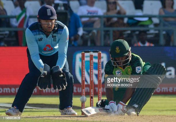 South Africa's Temba Bavuma plays a shot past England's wicketkeeper Jonny Bairstow during the first one day international cricket match between...