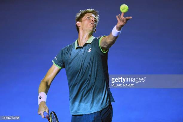 South Africas tennis player Kevin Anderson serves to South Korea's Hyeon Chung during their Mexico ATP 500 Open men's single tennis match in Acapulco...