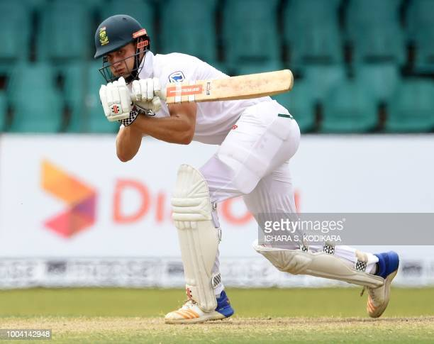 South Africa's Theunis de Bruyn plays a shot during the fourth day of the second Test match between Sri Lanka and South Africa at the Sinhalese...