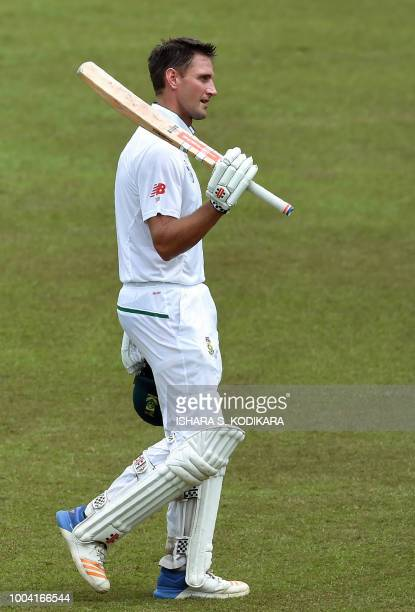 South Africa's Theunis de Bruyn walks back to the pavilion after his dismissal during the fourth day of the second Test match between Sri Lanka and...