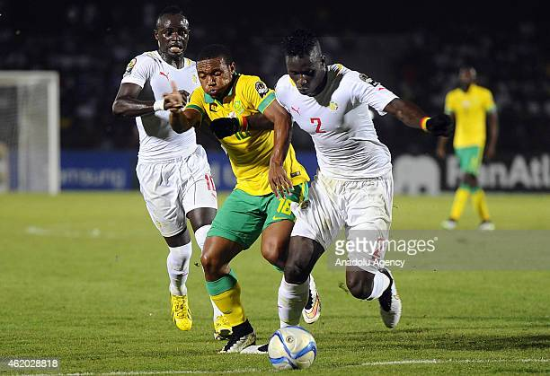 South Africa's Thuso Phala vies for ball with Senegal's Serigne Kara Mbodji and Sadio Mane during the 2015 African Cup of Nations Group C football...
