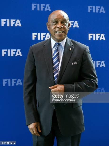 South Africa's Tokyo Sexwale chairman of a FIFA commission monitoring the problems affecting the development of football in Palestine poses after a...
