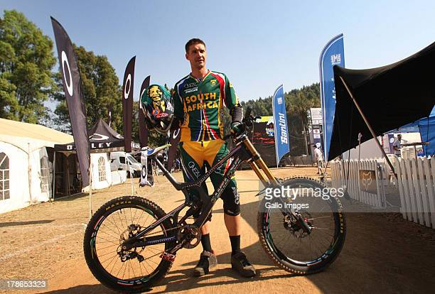 South Africa's top Mountain biker Greg Minnaar who is taking part in the Down Hill racing at the this years UCI World Mountain Biking Champs in...