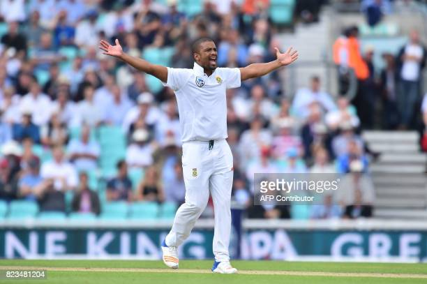 South Africa's Vernon Philander appeals unsuccessfully for the wicket of England's Alastair Cook on the first day of the third Test match between...