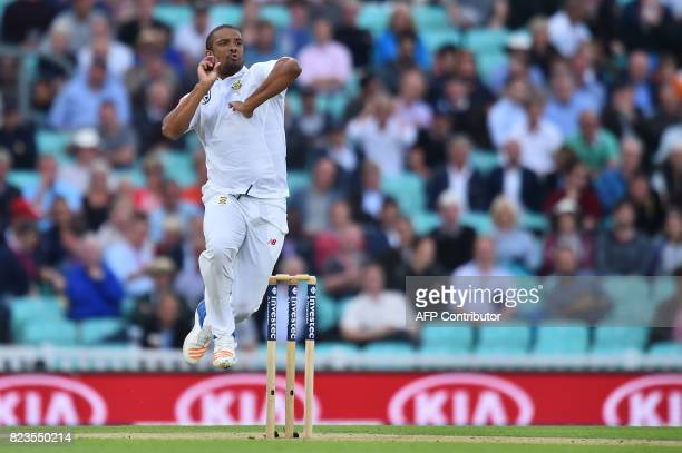South Africa's Vernon Philander bowls on the first day of the third Test match between England and South Africa at The Oval cricket ground in London...