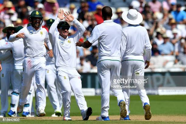 South Africa's Vernon Philander celebrates taking the wicket of England's Gary Balance given out on review for 4 runs on the fourth day of the second...