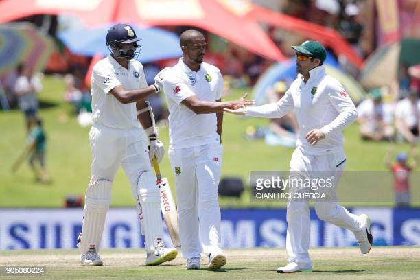 South Africa's Vernon Philander celebrates the dismissal of India's Ravichandran Ashwin during the third day of the second Test cricket match between...
