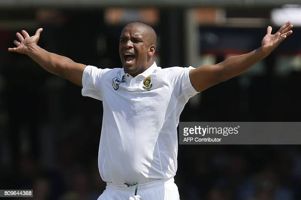 South Africa's Vernon Philander makes a successful appeal for the wicket of Englands Keaton Jennings for eight runs during the first day of the first...
