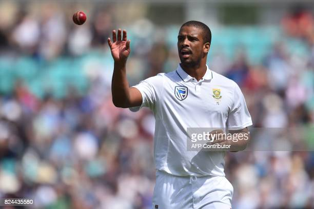 South Africa's Vernon Philander takes the ball as he prepares to bowl during play on day 4 of the third Test match between England and South Africa...