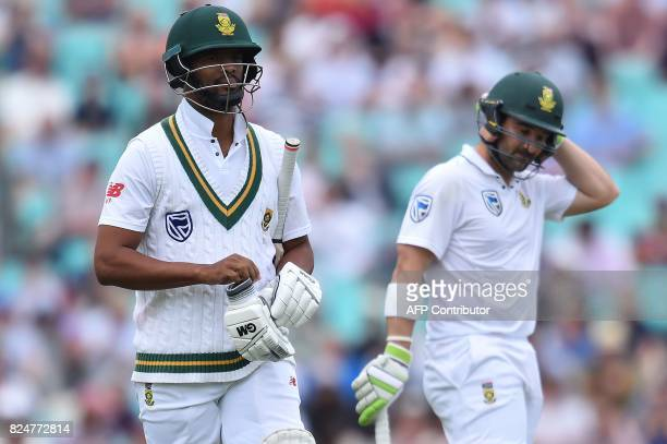 South Africa's Vernon Philander walks back to the pavilion after losing his wicket on the final day of the third Test match between England and South...