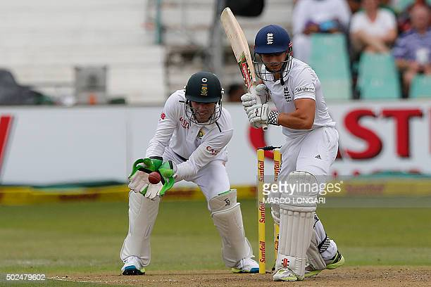 South Africa's wicket keeper AB de Villiers catches the ball after England's batsman James Taylor swung during day one of the first test match...