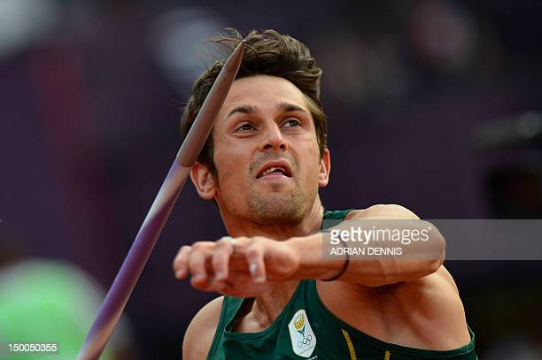 South Africa's Willem Coertzen competes in the men's decathlon javelin throw at the athletics event during the London 2012 Olympic Games on August 9,...