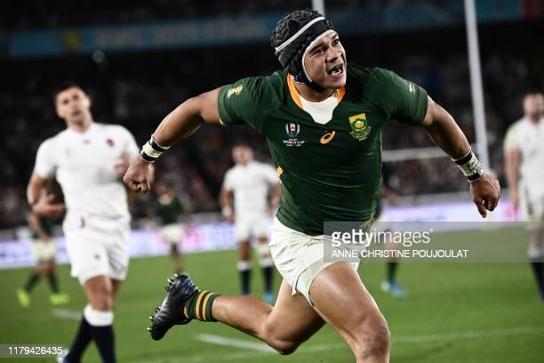 South Africa's wing Cheslin Kolbe celebrates after scoring a try during the Japan 2019 Rugby World Cup final match between England and South Africa...
