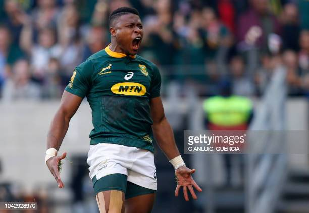 South Africa's winger Aphiwe Dyantyi reacts after scoring a try during the Rugby Championship match between South Africa and Australia at Nelson...