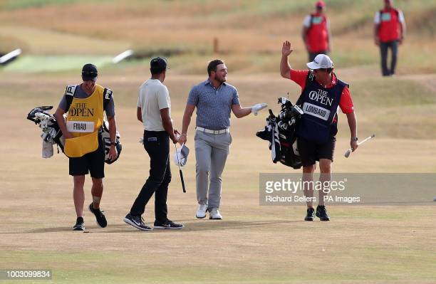 South Africa's Zander Lombard after an eagle on the 18th during day three of The Open Championship 2018 at Carnoustie Golf Links Angus