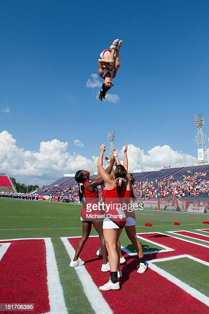 South Alabama Jaguars cheerleaders perform before their game against the Nicholls State Colonels on September 08 2012 at LaddPeebles Stadium in...