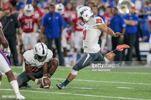 South Alabama Jaguars place kicker Gavin Patterson kicks a field goal during the South Alabama Jaguars vs Louisiana Tech Bulldogs game at Joe Aillet...