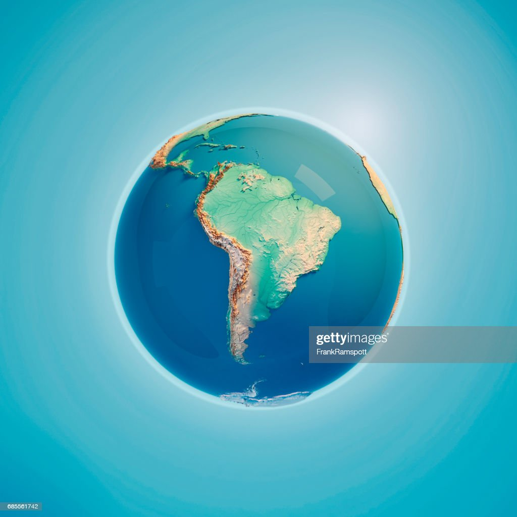 South America 3D Render Planet Earth : Stock Photo