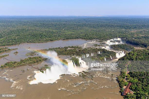 south america, brazil, parana, iguazu national park, iguazu falls and rainbow - イグアス滝 ストックフォトと画像