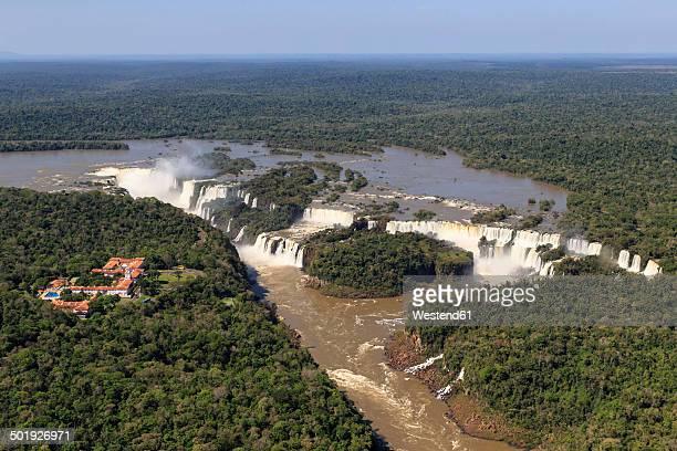 south america, brazil, parana, iguazu national park, iguazu falls and belmond hotel das cataratas - イグアス滝 ストックフォトと画像
