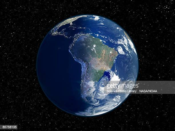 south america, day and night, satellite image of the earth - südamerika stock-fotos und bilder